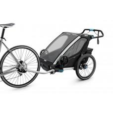 Utánfutó THULE CHARIOT SPORT 2 BLACK (kerékpáros, sétáló, és futó kit a csomagban) 2 gyereknek