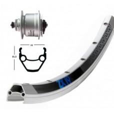 Fr wheel 28x1.75,hub fla,DH3D72,QR,36 ho - ZX 19, ezüst, N küllők, Centerlock