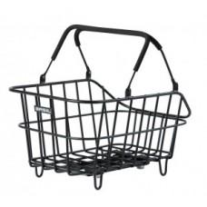 Rear wheel basket Basil Cento Mik Alu - 45x33x21 cm matt black wide-meshed
