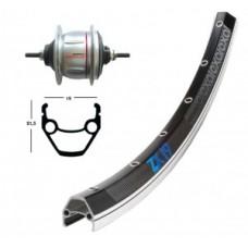 RW 28 X 1.75 w/o CB Shim. 8 sp. silv.36h - ZX 19 bl./silv. Niro-Spokes w / o ba.pedal