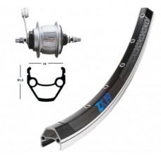B-Wheel 28 X 1.75 Shim. 8-Gear  36 L. - ZX 19 fekete / silv.Niro-Spokes