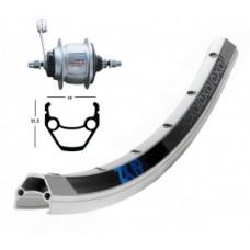 B-Wheel 28 X 1.75 Shim. 8-Gear 36 L. - EXAL ZX 19 ezüst, Niro-Spokes
