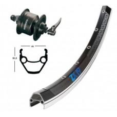 Frontwheel 28X1.75 hubdynamoSZ.72QR36h. - ExalZX19 fekete / ezüst Nirospokes fekete