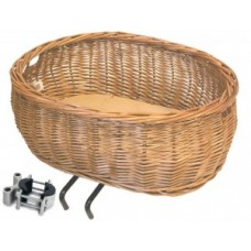 Front wheel pet basket Pluto - ecru willow incl. Clamp and cushion